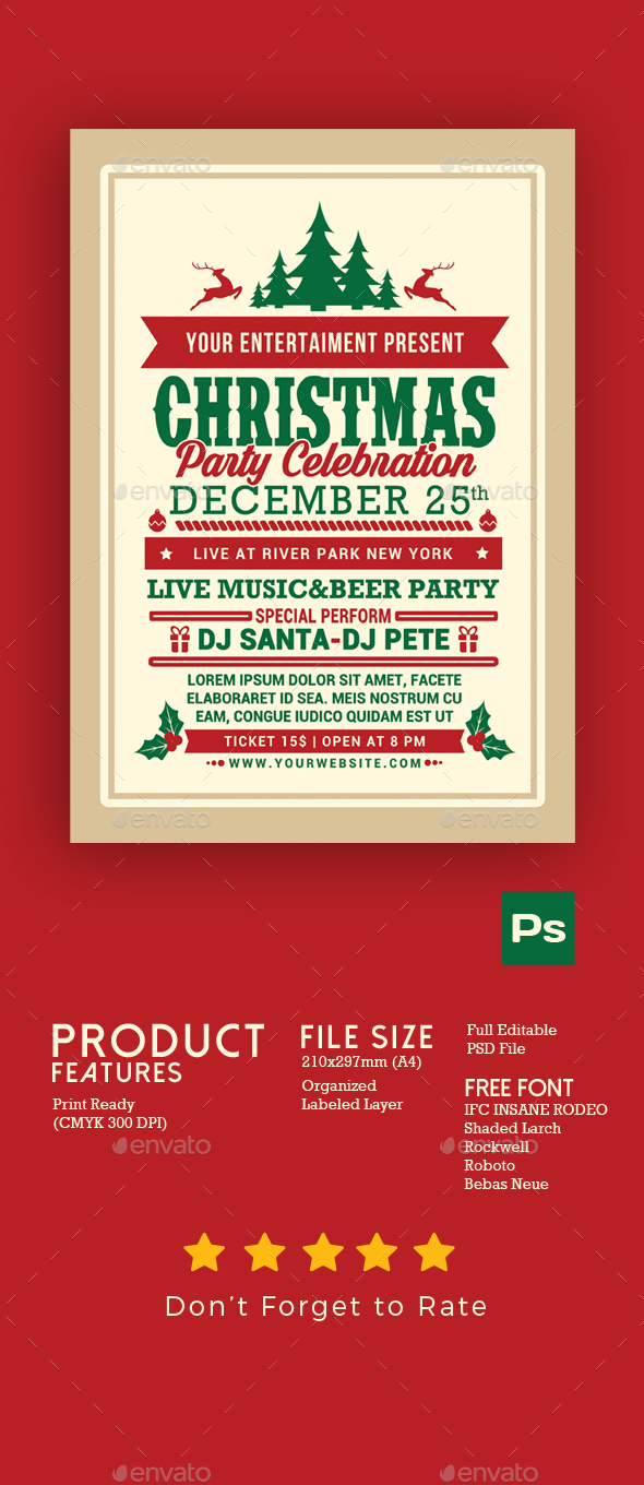 GraphicRiver Christmas Party Celebration Flyer 20936432