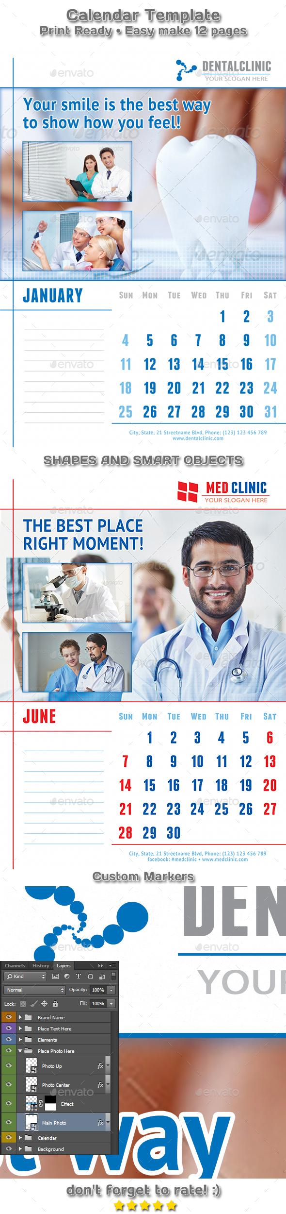 Medical or Dental Clinic Calendar 2018 Template - Calendars Stationery