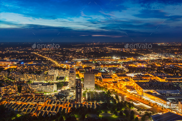 Night aerial view of Munich, Germany - Stock Photo - Images