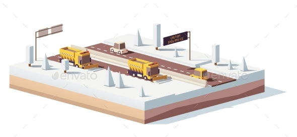 Vector Low Poly Snowplows Working on the Highway - Man-made Objects Objects