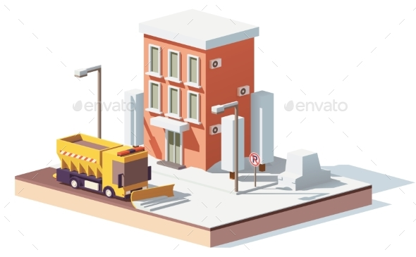 GraphicRiver Vector Low Poly Snowplows Working in the City 20936700