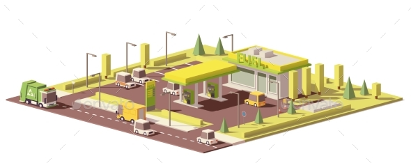 GraphicRiver Vector Low Poly Gas Station 20936705