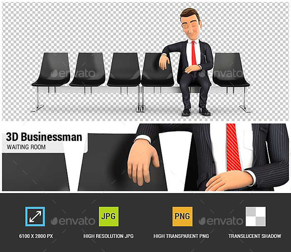 3D Businessman Sleeping in Waiting Room - Characters 3D Renders