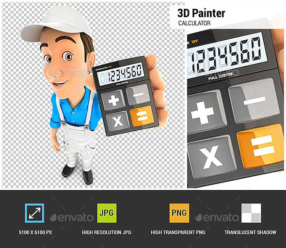 3D Painter Holding Calculator - Characters 3D Renders
