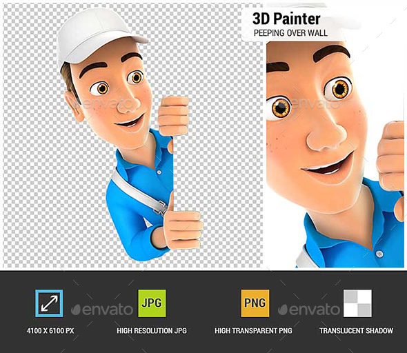 3D Painter Peeping Over Blank Wall - Characters 3D Renders