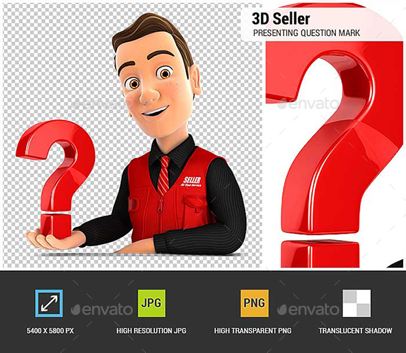 GraphicRiver 3D Seller Presenting Question Mark 20936807