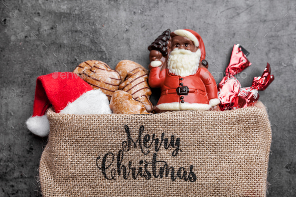 Festive Christmas background with sweets and decoration - Stock Photo - Images