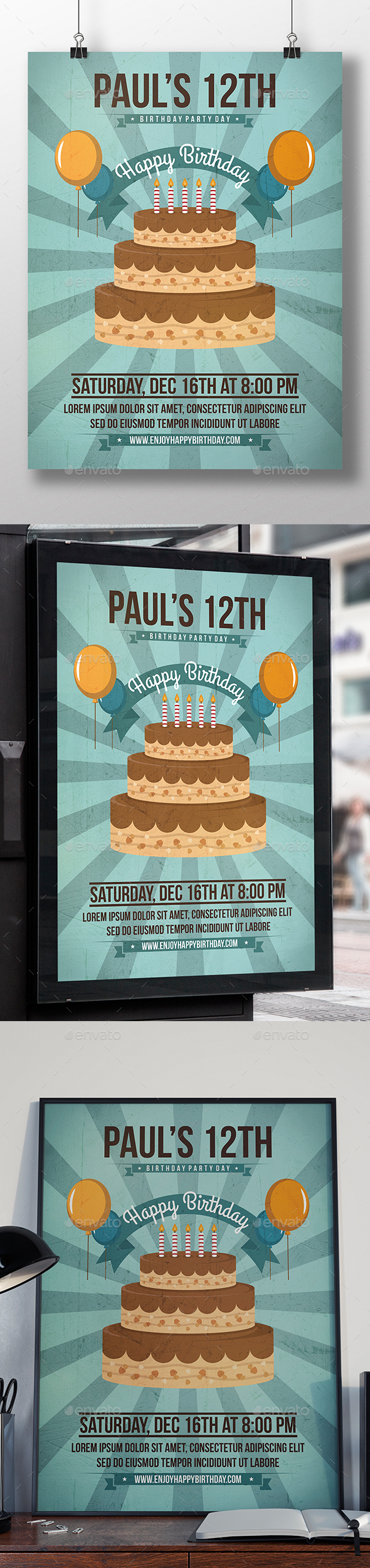 GraphicRiver Happy Birthday Party Flyer 20937011