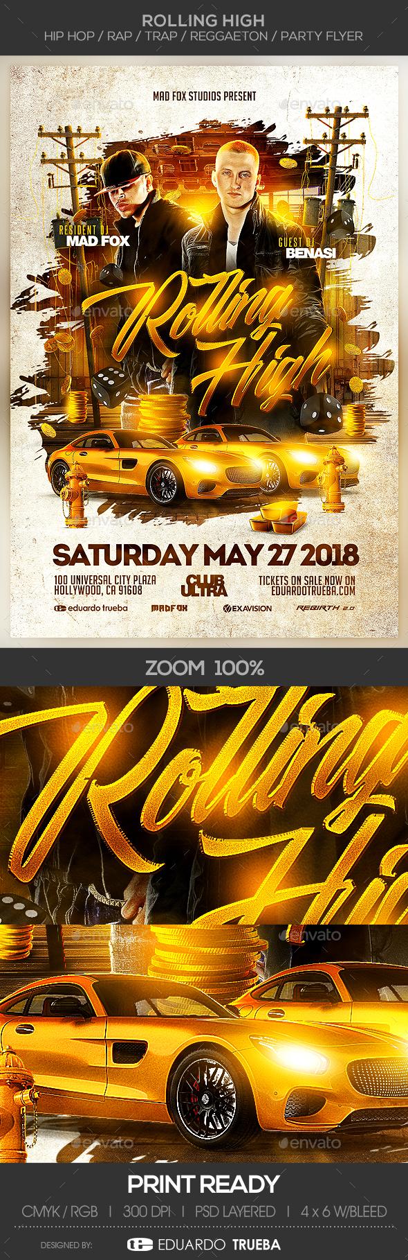 GraphicRiver Rolling High Hip Hop Rap Trap Reggaeton Party Flyer 20937018
