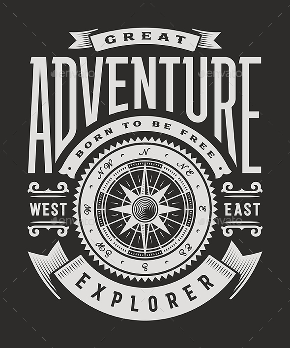 Vintage Great Adventure Typography on Black Background - Decorative Symbols Decorative