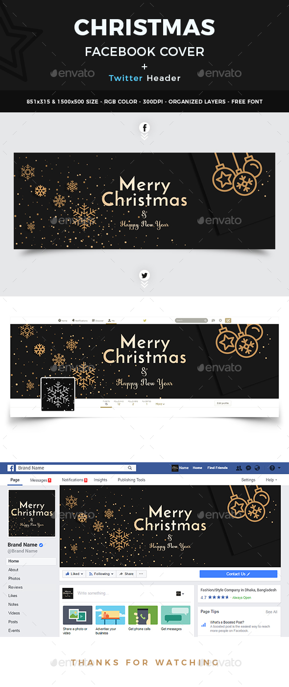 GraphicRiver Christmas Facebook Cover and Twitter Header 20937078