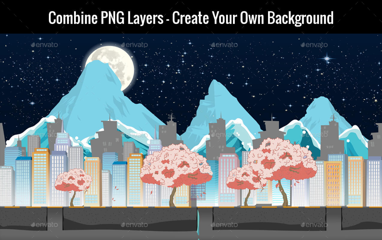 20 Vector Game Backgrounds Parallax Scrolling
