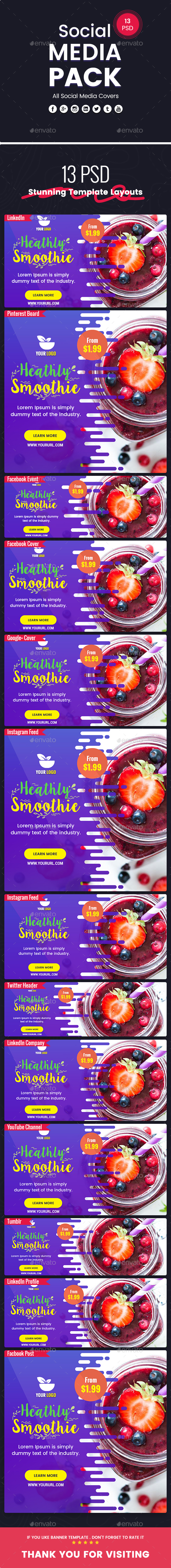 GraphicRiver Smoothie Drink Juice Social Media Pack 20937232