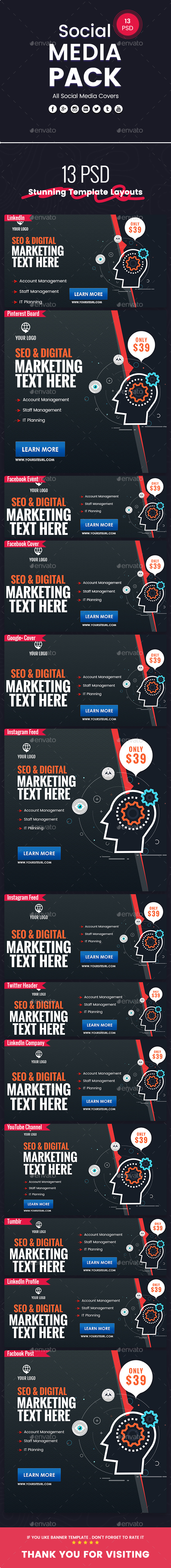 Seo & Digital Marketing - Social Media Pack - Miscellaneous Social Media