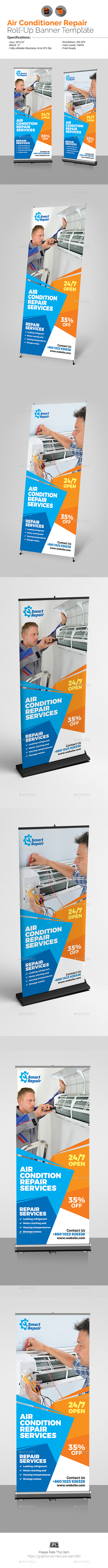 GraphicRiver Air Conditioner Repair Services Roll-Up 20937525