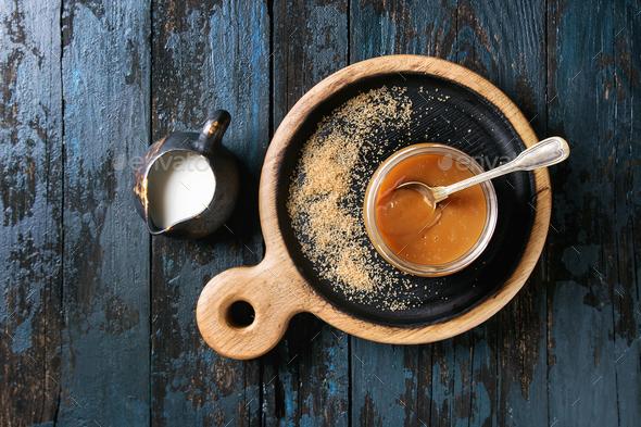 Homemade salted caramel sauce - Stock Photo - Images