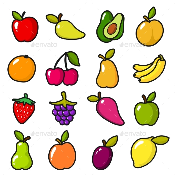 GraphicRiver Collection of Fruits in Cartoon Style 20937787