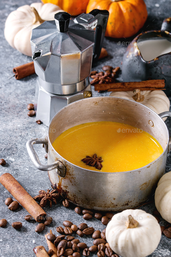 Ingredients for pumpkin latte - Stock Photo - Images