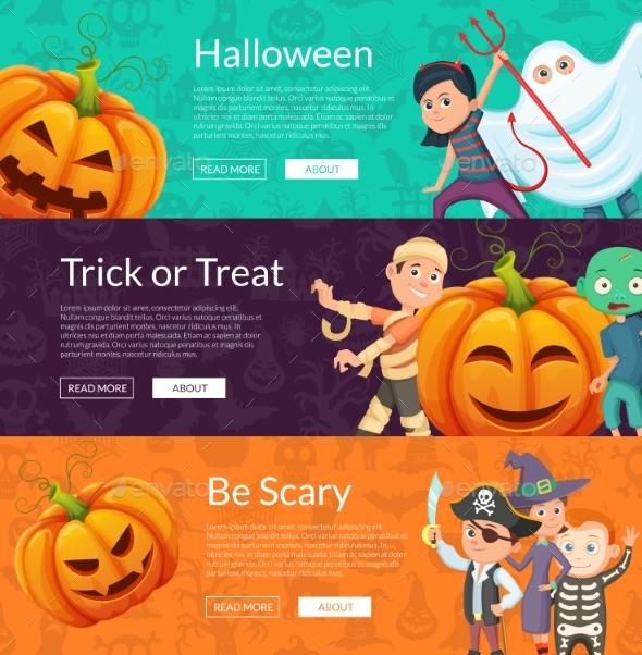 Vector Halloween Banner Set Template with Cartoon - Miscellaneous Vectors