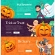 Vector Halloween Banner Set Template with Cartoon