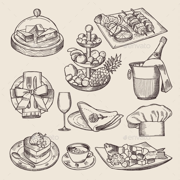 Different Pictures for Restaurant Menu in Retro - Food Objects