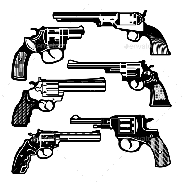 GraphicRiver Monochrome Illustrations of Retro Weapons 20937901