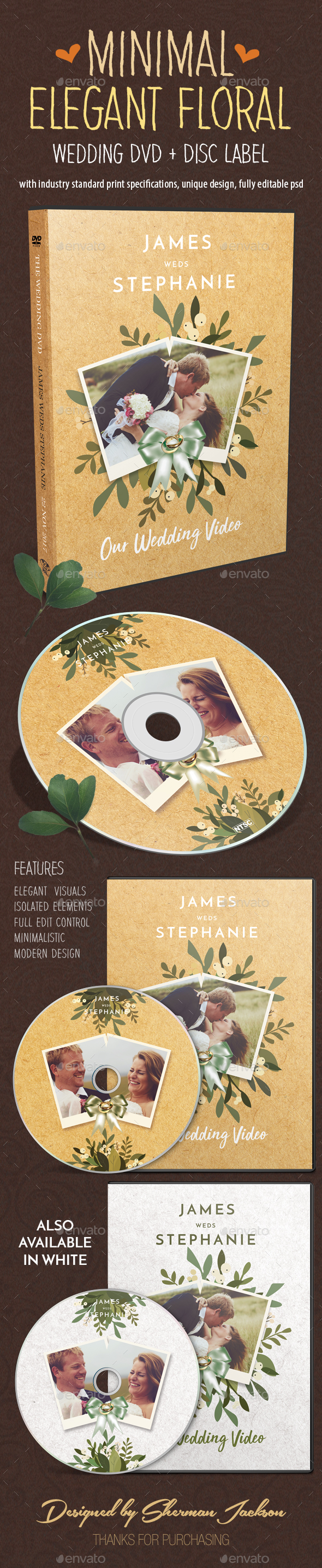 GraphicRiver Minimal Elegant Floral Wedding DVD Covers 20937904