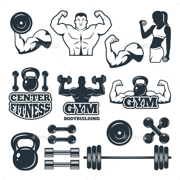 Different Symbols and Badges Set for Fitness Club - Decorative Symbols Decorative