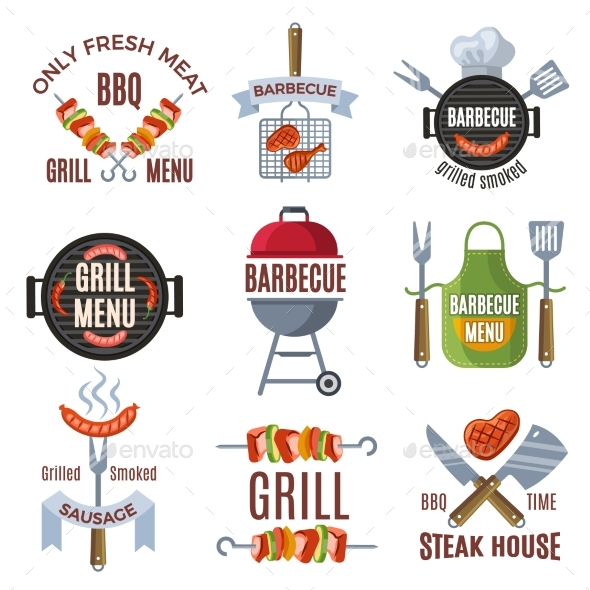 Colored Labels Set for BBQ Party - Decorative Symbols Decorative