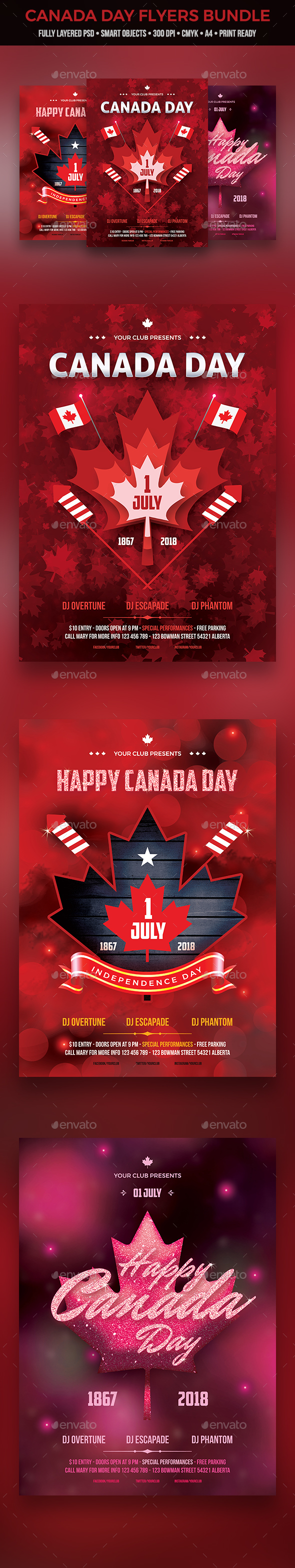 Canada Day Flyer Bundle - Clubs & Parties Events