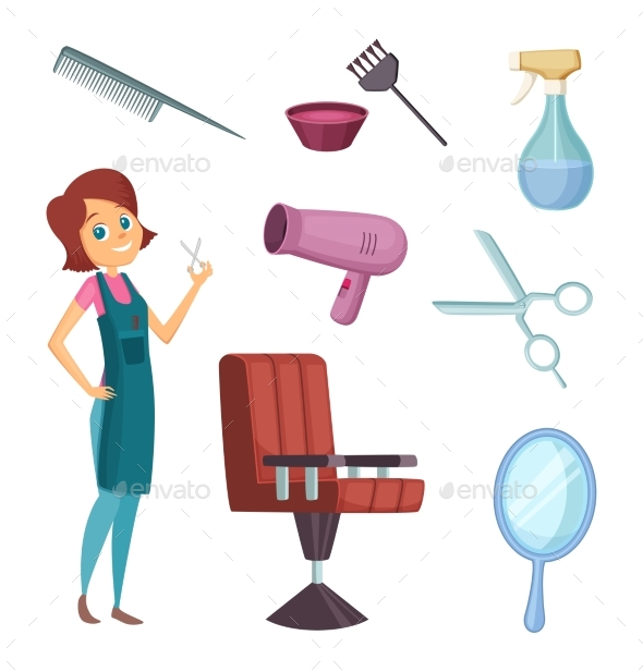 GraphicRiver Female Barber at Work 20937920