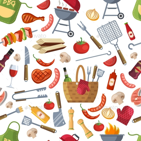 Seamless Pattern of Different Foods for BBQ - Backgrounds Decorative