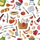 Seamless Pattern of Different Foods for BBQ