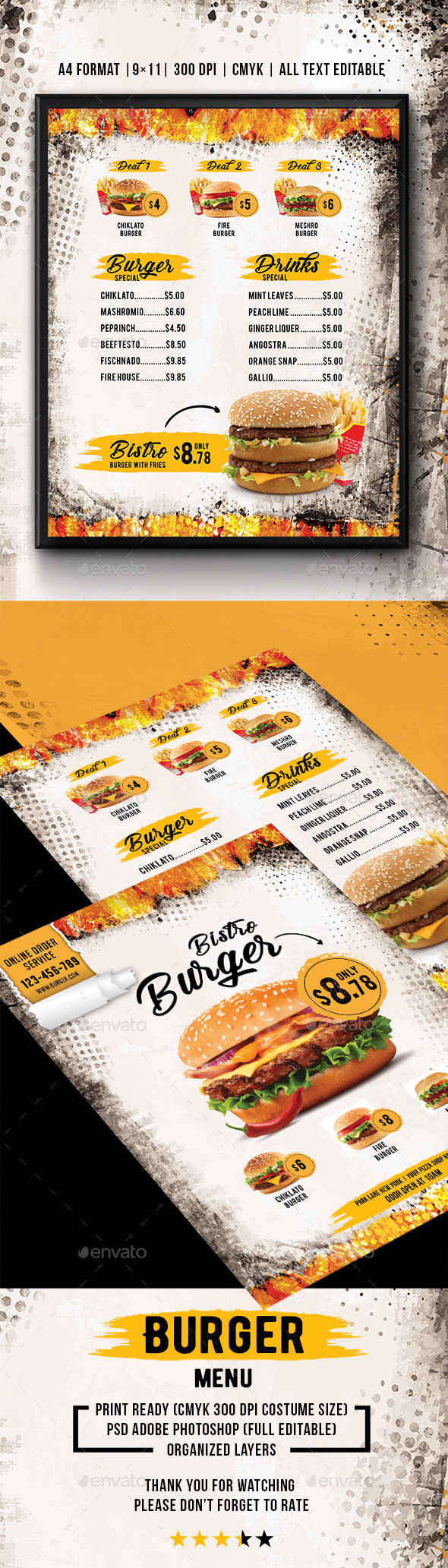 GraphicRiver Burger Bistro Menu 20937981