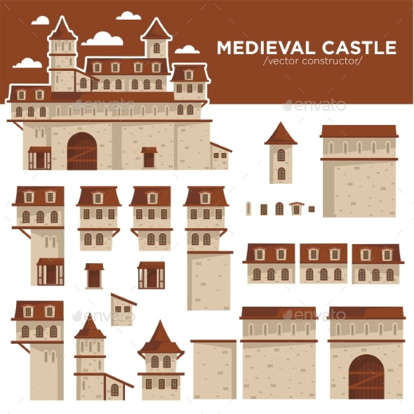 Medieval Castle or Royal Fortress Constructor - Buildings Objects