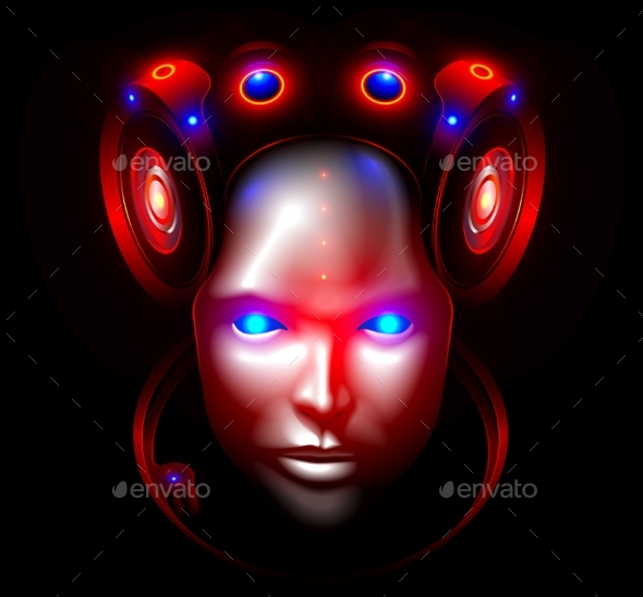 Robot Woman Face or Head Front View Artificial - Miscellaneous Vectors