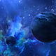 Flying Through Abstract Blue Space with Planets and Shine of Star - VideoHive Item for Sale