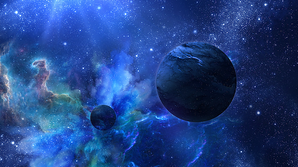 Download Wallpaper 2780x2780 Planet Galaxy Universe: Flying Through Abstract Blue Space With Planets And Shine