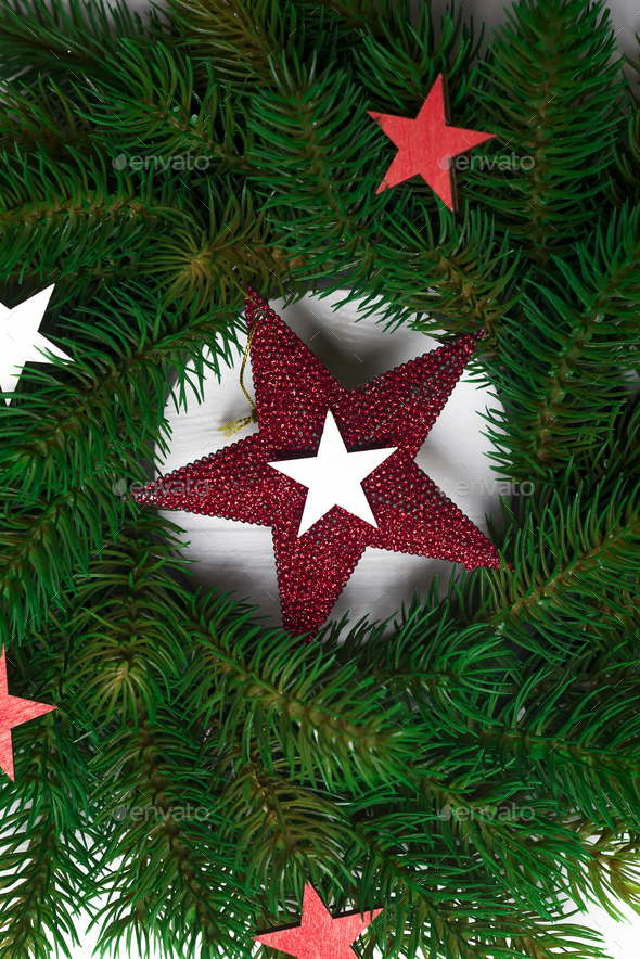 Christmas wreath with stars - Stock Photo - Images