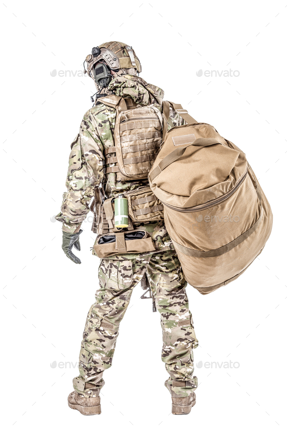Soldier with gym bag - Stock Photo - Images