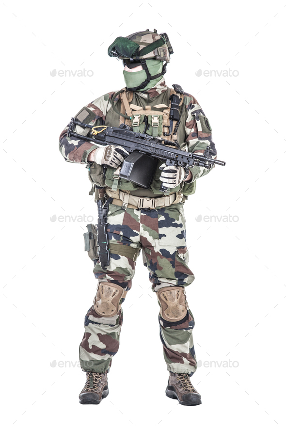French paratrooper with weapons - Stock Photo - Images