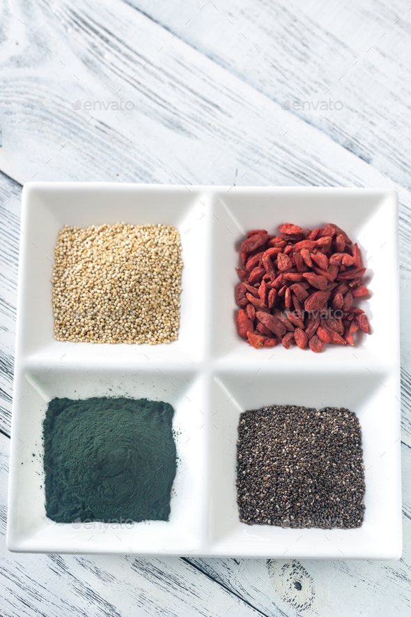 Superfoods on the four-section plate - Stock Photo - Images
