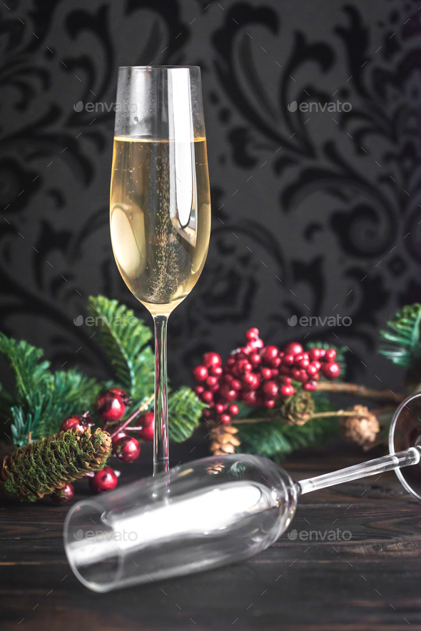Gasses of champagne with Christmas tree - Stock Photo - Images