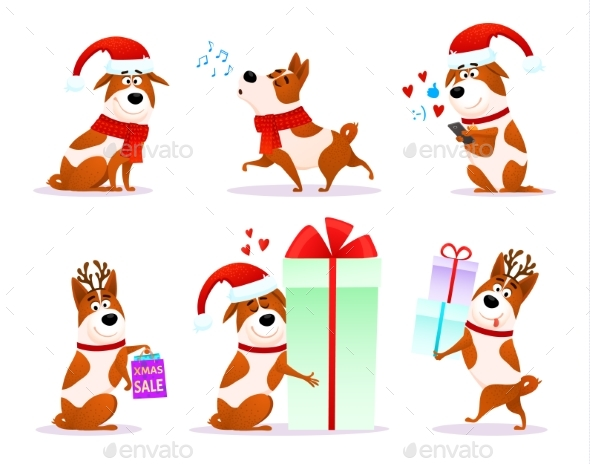Xmas Flat Puppy Emoji Collection - Animals Characters