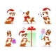 Xmas Flat Puppy Emoji Collection - GraphicRiver Item for Sale