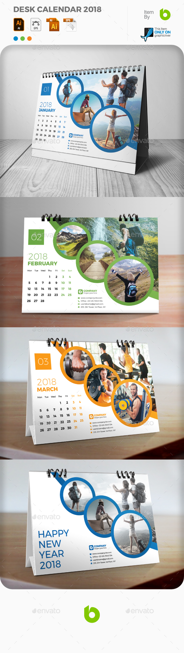 GraphicRiver Desk Calendar 2018 20938475
