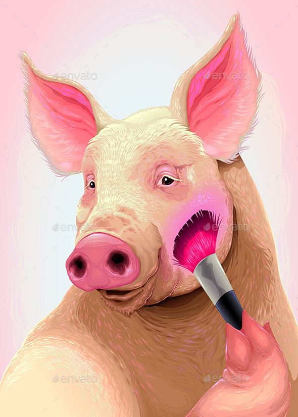 Pig is Applying the Blush on her Cheek - Animals Characters