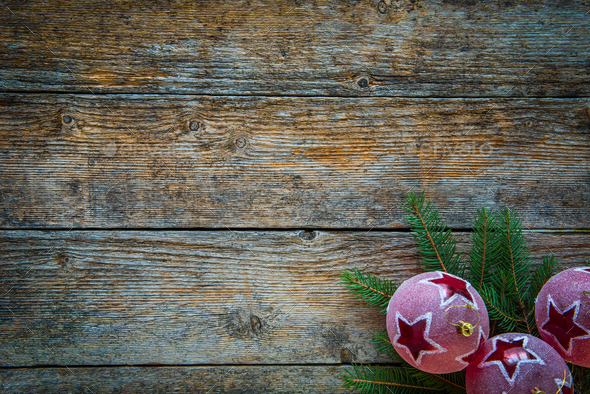 Wooden Christmas background with ornaments, space for text - Stock Photo - Images