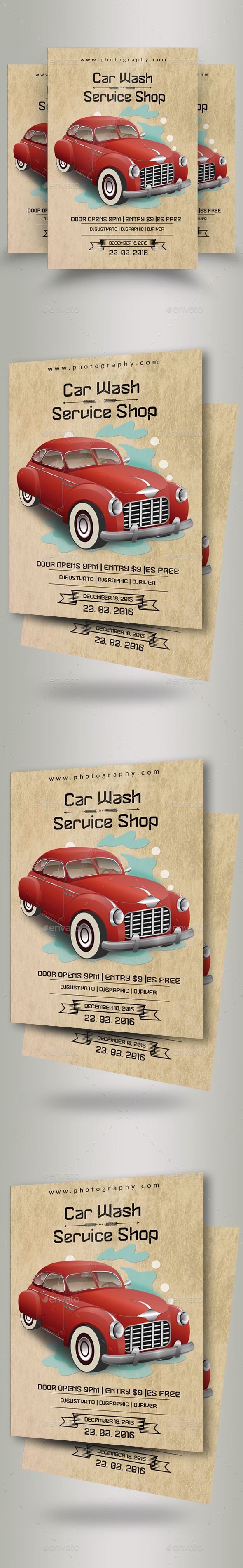 GraphicRiver Vintage Car Wash Flyers 20938844