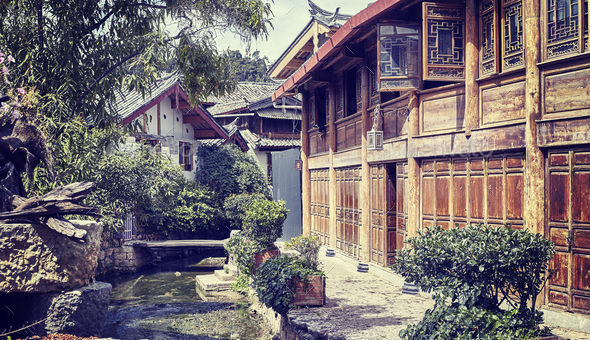 Retro stylized picture of a narrow empty street, China. - Stock Photo - Images